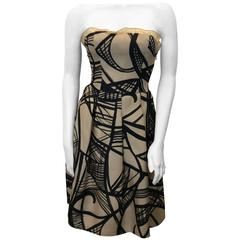 Giambattista Valli Cream and Black Printed Strapless Cocktail Dress
