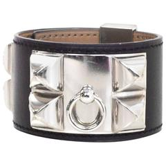 Hermes Black Leather Collier de Chien CDC Bracelet Cuff sz S