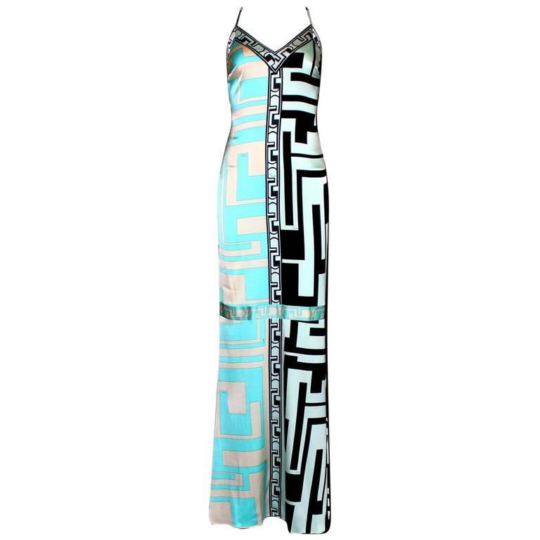 Emilio Pucci Signature Print Silk Evening Gown Maxi Dress