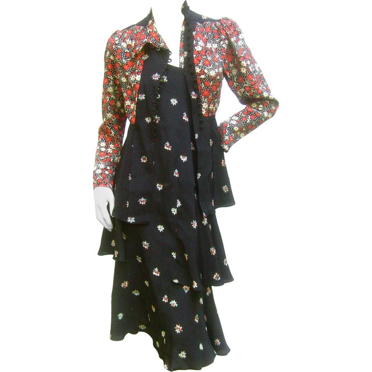 Ossie Clark Moss Crepe Dress and Jacket. Early 1970's. 1