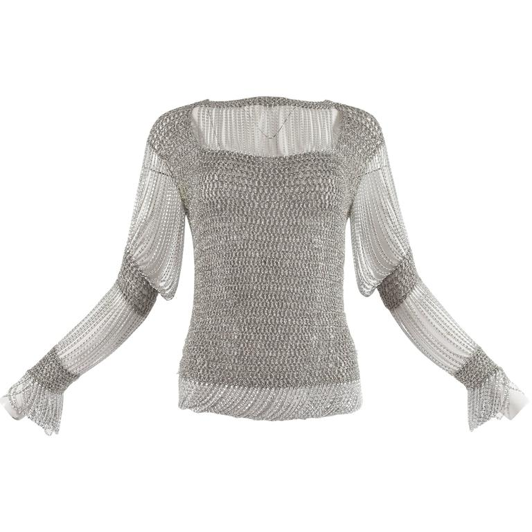 Loris Azzaro 1970 silver chain and lurex knit evening sweater 1