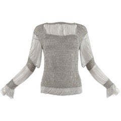 Loris Azzaro 1970 silver chain and lurex knit evening sweater