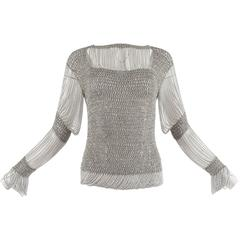 Loris Azzaro 1970 silver chain and lurex knit evening sweater
