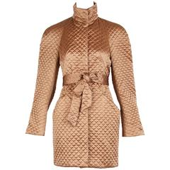 Alexander McQueen Gold Quilted Satin Cocoon Jacket Coat with Belt, 2007