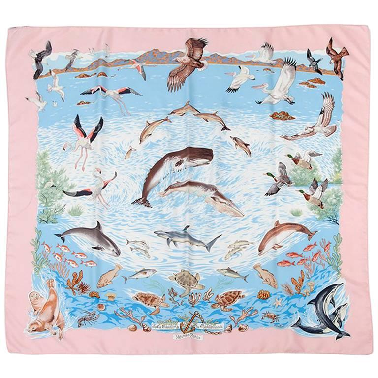 "1992 Hermes ""La Vie Precieuse De La Mediterranee"" Silk Twill Carre Scarf For Sale"