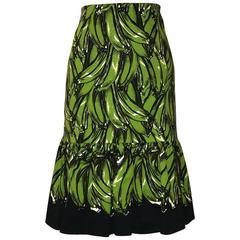Prada 2011 Green and Black Banana Print Pencil Skirt with Ruffle Bottom