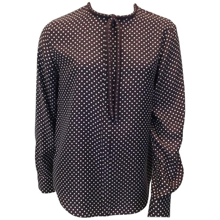 Chloe Brown Polka Dot Blouse with Neck Tie For Sale