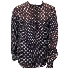 Chloe Brown Polka Dot Blouse with Neck Tie