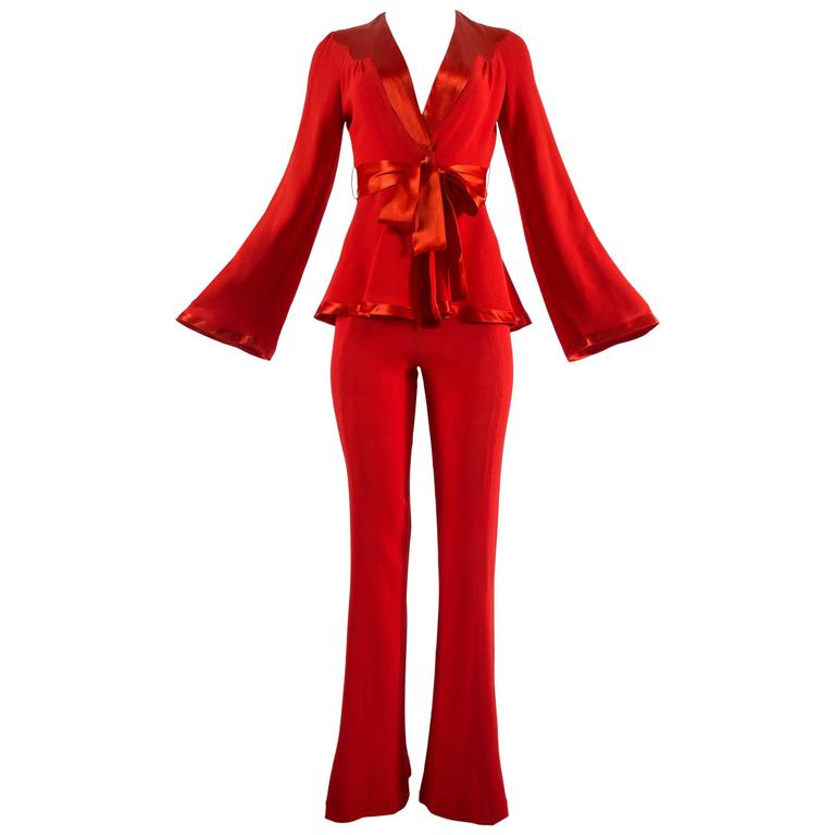 Ossie Clark 1970s red moss crepe and satin pant suit 1