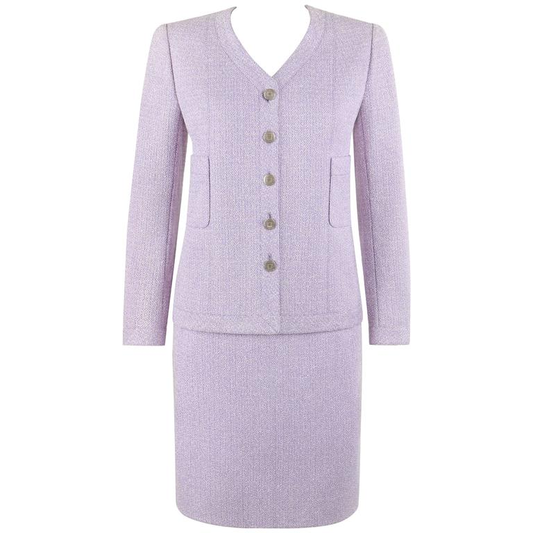 CHANEL S/S 1998 2 Pc Classic Lilac & White Wool Tweed Suit Blazer Skirt Set 40