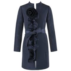 OSCAR DE LA RENTA Resort 2010 Navy Blue Silk Ruffle Floral Detail Belted Coat