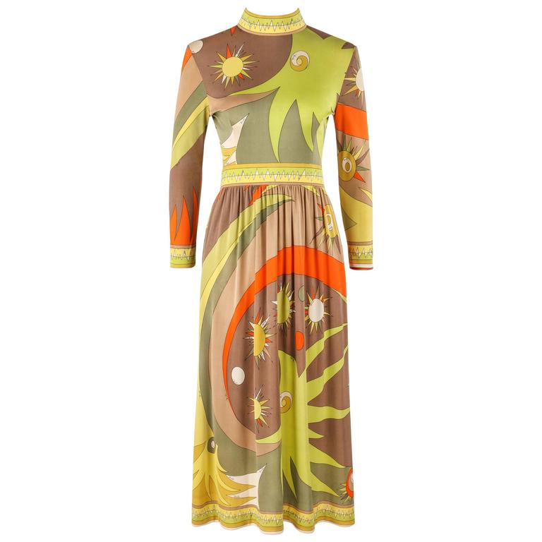 EMILIO PUCCI c.1960's Multicolor Abstract Sunburst Signature Print Jersey Dress