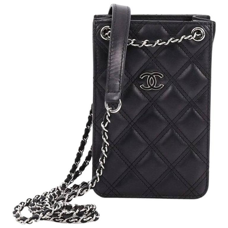 ce0780414f2d Chanel CC Phone Holder Crossbody Bag Quilted Lambskin at 1stdibs