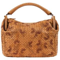 "BOTTEGA VENETA S/S 2009 ""Duette"" Camel Embroidered Intrecciato Leather Purse"