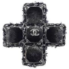 Chanel 2013 Black Velvet CC Cross Brooch Pin