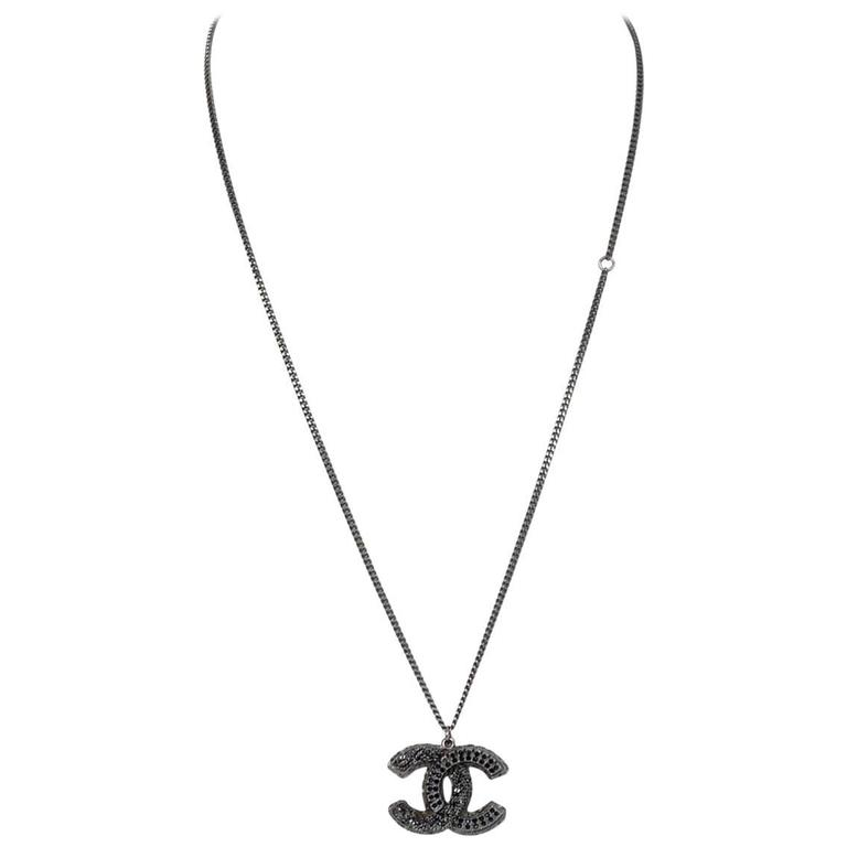 Chanel Gunmetal And Black Crystal Cc Pendant Necklace For