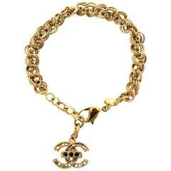 Chanel Goldtone Chain Link & CC Pendant Bracelet