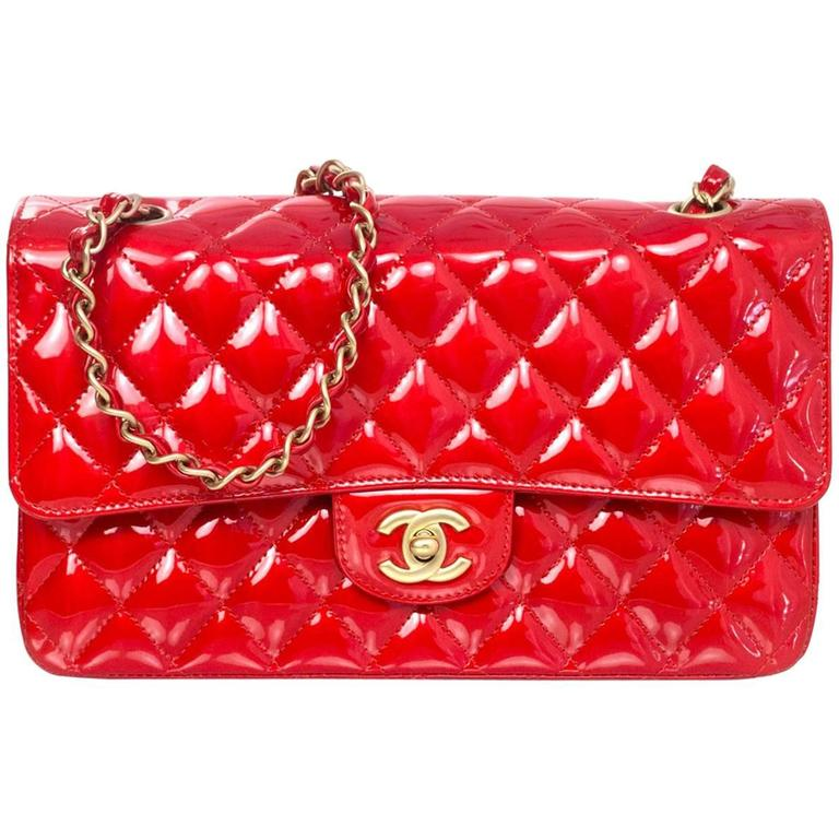 "Chanel Collector's Mobile Art Show Signed Red Patent 10"" Classic Double Flap Bag 1"