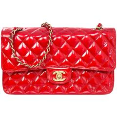 """Chanel Collector's Mobile Art Show Signed Red Patent 10"""" Classic Double Flap Bag"""