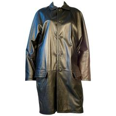 Gianni Versace Black Leather Car Coat