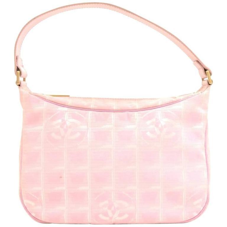 Chanel Pink Jacquard Nylon Travel Line Pochette Hand Bag