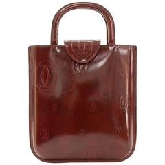 Cartier Happy Birthday Burgundy Patent Leather Hand Bag