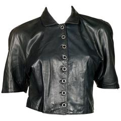 Gianni Versace Leather Crop Top
