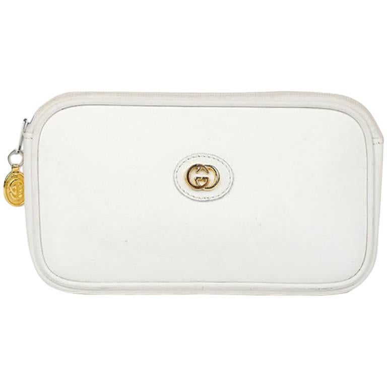 Gucci Double G White Leather Makeup/Wallet Bag