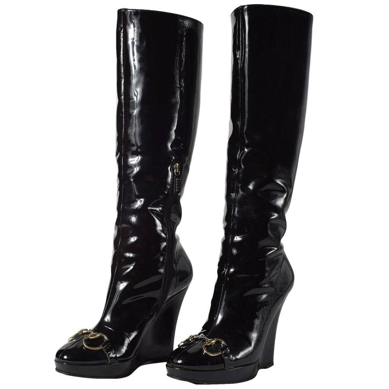 c3e185bb746d Gucci Patent Leather High Wedge Boots at 1stdibs