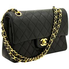 CHANEL Double Flap Small Chain Shoulder Bag Black Quilted Lambskin