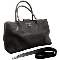 CHANEL Executive Tote Caviar Shoulder Bag Black Silver Handbag
