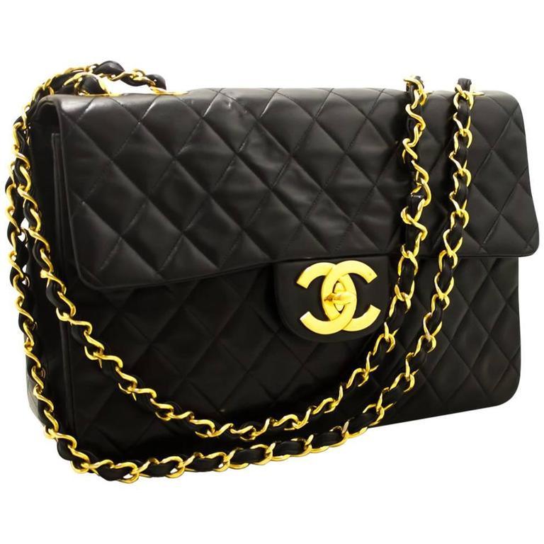 "CHANEL Jumbo 13"" Maxi 2.55 Flap Chain Shoulder Bag Black Lambskin  For Sale"