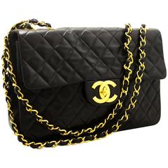 "CHANEL Jumbo 13"" Maxi 2.55 Flap Chain Shoulder Bag Black Lambskin"