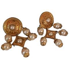 Chanel Faux Pearls Gold tone Clip On Earrings