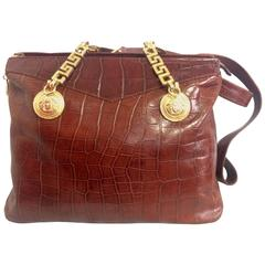 Vintage Gianni Versace brown croc-embossed leather shoulder tote bag.