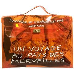 Vintage Hermes a rare transparent orange vinyl Kelly beach bag. Limited Edition.
