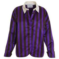 1990s GIANFRANCO FERRÈ Satin Striped Blouse Jacket