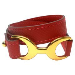 Hermès Baby Pavane Bracelet red epsom Gold Hw / BRAND NEW
