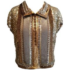 Valentino Gold, Silver & Bronze Sequinned Top