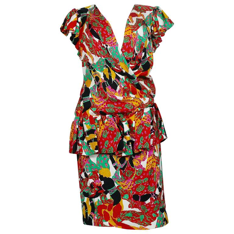 Yves Saint Laurent YSL Vintage Runway 1991 Leon Baskt Print Wrap Dress