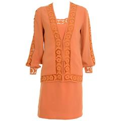 1970s LANCETTI Orange Skirt Suit with Top