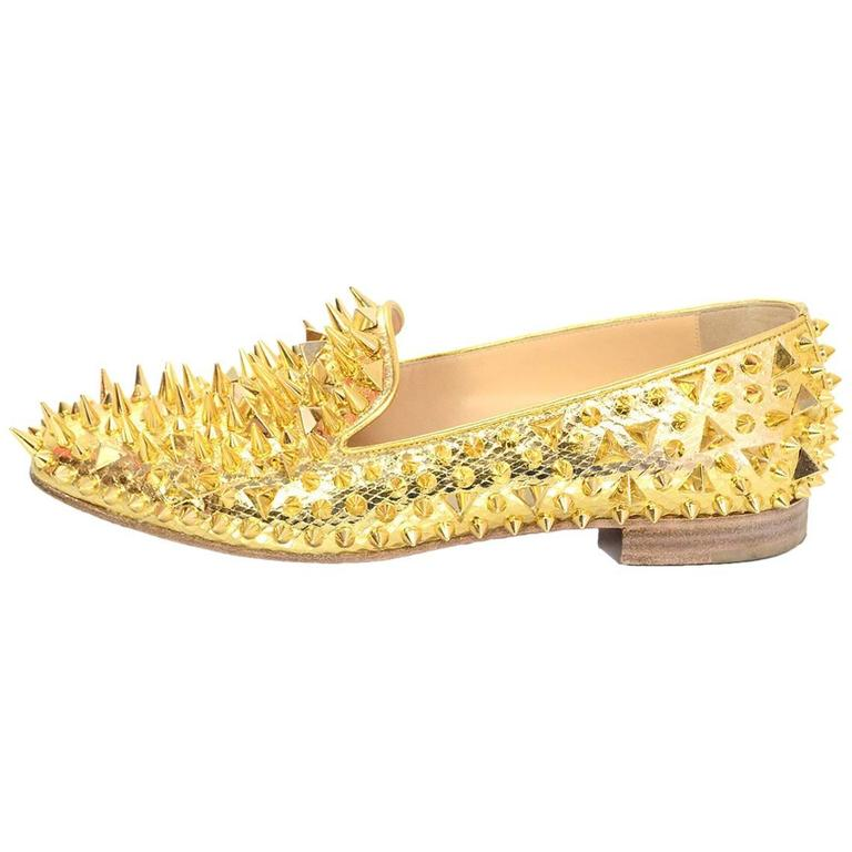 2dc7b802823 Christian Louboutin Gold Spiked Loafers Sz 38.5 For Sale at 1stdibs