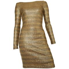Badgley Mischka Gold Metallic Stretch Cocktail Dress Size 2 / 4.
