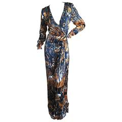 Yves Saint Laurent Rive Gauche Vintage 1980's Tiger and Leopard Print Long Dress