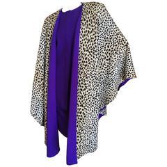 Valentino Vintage 1980's Purple Three Piece Suit with Leopard Trim