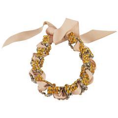 ALESSANDRO DELL'ACQUA Gold Rhinestones Chain Ribbon Bracelet