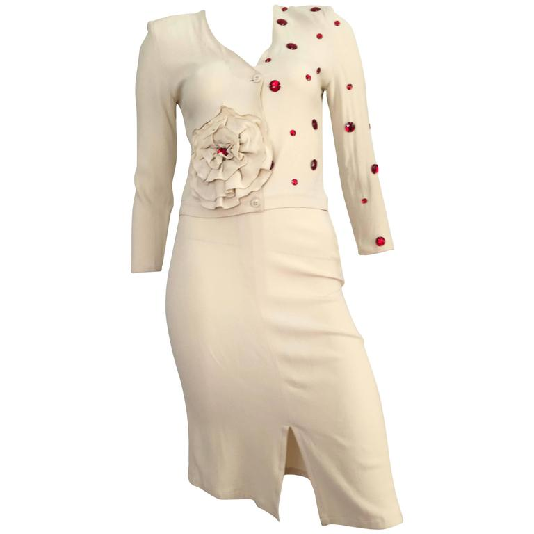 a234c3feb10 Sonia Rykiel 1980s Cream Skirt Suit with Red Rhinestones Size 4. For Sale