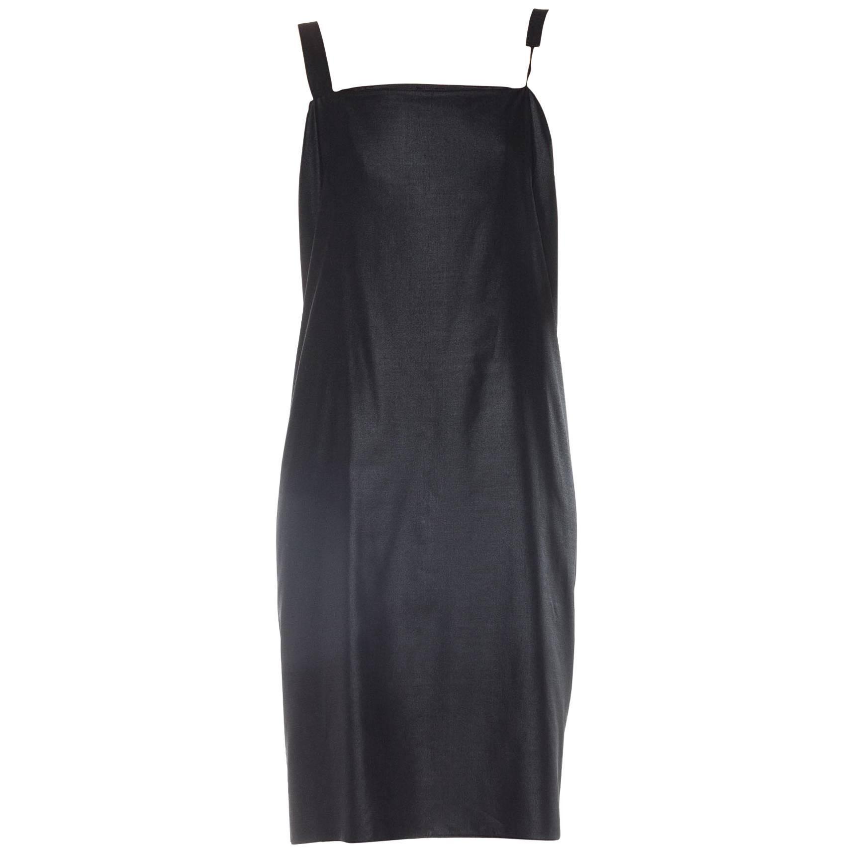 2000S JIL SANDER Black Metallic Cotton Asymmetrical Cocktail Dress Xxs