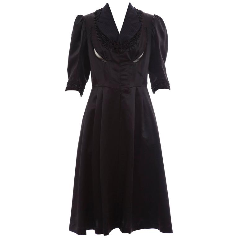 Comme Des Garcons Navy Black Wool Silk Satin Embroidered Dress, Fall 2006