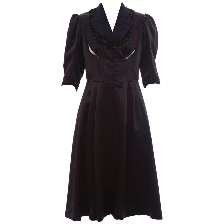 Comme Des Garcons Navy Black Wool Silk Satin Embroidered Dress, Fall 2006 For Sale